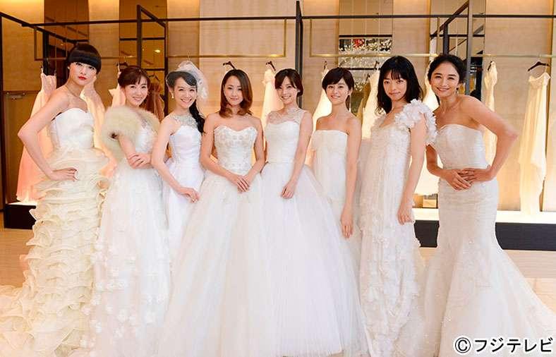 沢尻エリカら「ファーストクラス」悪女8人がウエディングドレス姿を披露