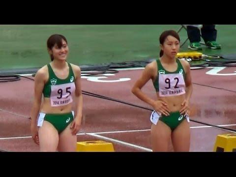 日本学生個人選手権陸上2014年 女子100m決勝 青山学院大学 - YouTube