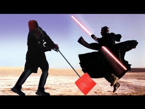 Guy falling for 9 seconds while trying to fight Darth Maul - YouTube