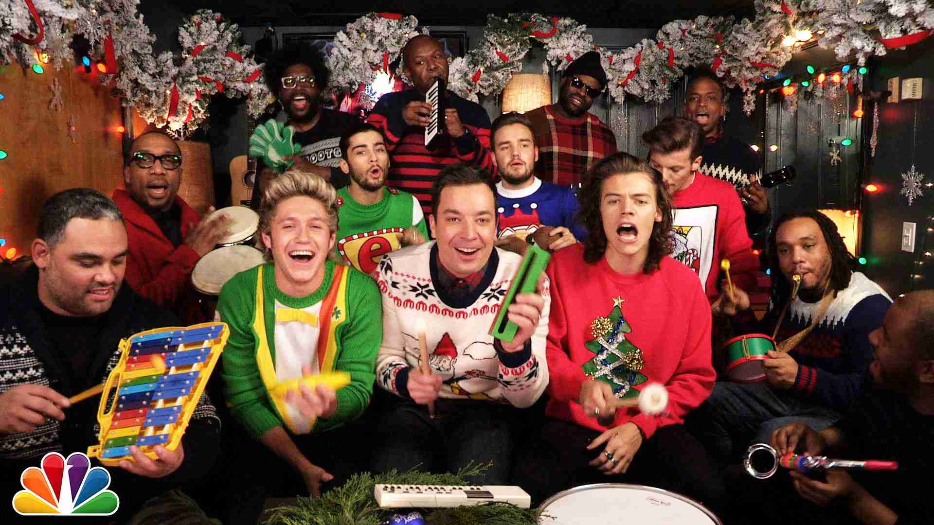 """Jimmy Fallon, One Direction & The Roots: """"Santa Claus Is Coming To Town"""" (Classroom Instruments) - YouTube"""