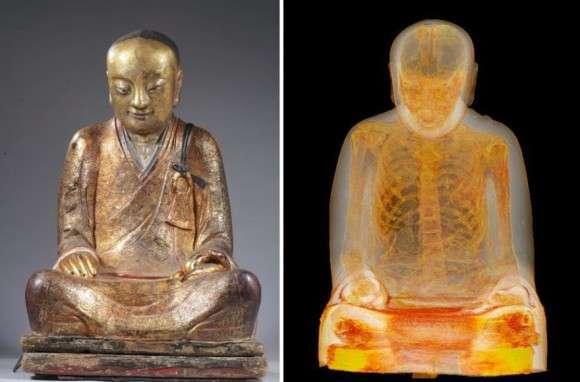 仏像をCTスキャンしたところ、1100年前に死亡した高僧のミイラが発見される : カラパイア