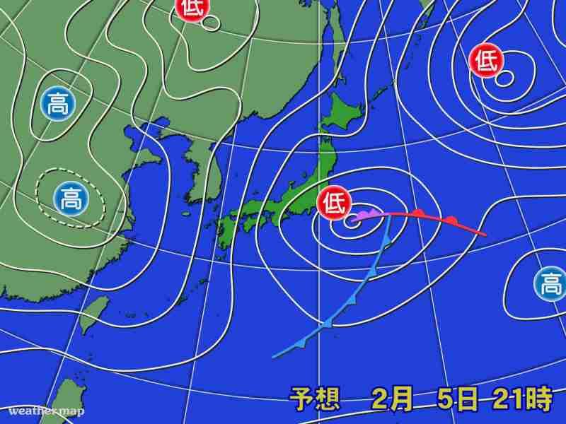 5日は太平洋側で大雪に注意 東京都心でも積雪のおそれ (ウェザーマップ) - Yahoo!ニュース