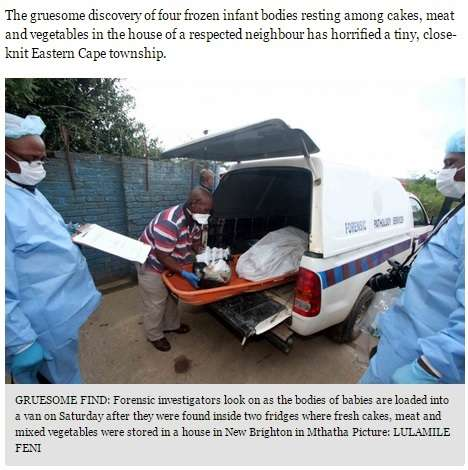 【閲覧注意】パートナーの葬儀の後、女の家の冷蔵庫から新生児4体が発見される(南アフリカ)