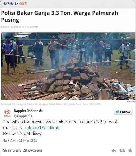 ジャカルタ警察が押収した3.3トンものマリファナを焼却 街中がハイになり苦情殺到
