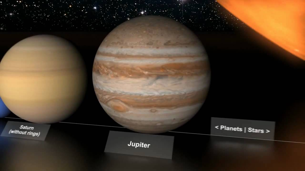 Planets' and stars' size comparison - YouTube