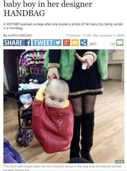 高級ブランドバッグに乳児を入れて運ぶ母親に批判殺到 - ライブドアニュース