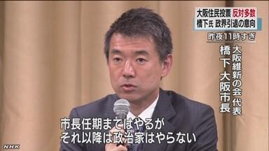 橋下徹大阪市長が会見 政界引退の意向表明  橋下徹大阪市長が会見 政界引退の意向表明 588コメ