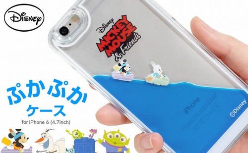 ディズニーキャラのぷかぷかiPhoneケース、ミッキーたちが浮かんで動く