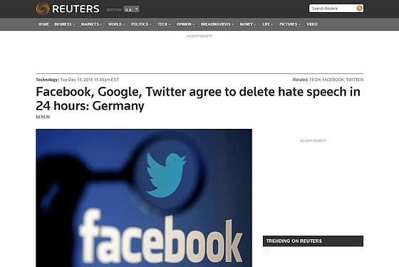 「24時間以内にヘイトスピーチを削除」にFacebook・Google・Twitterが合意へ