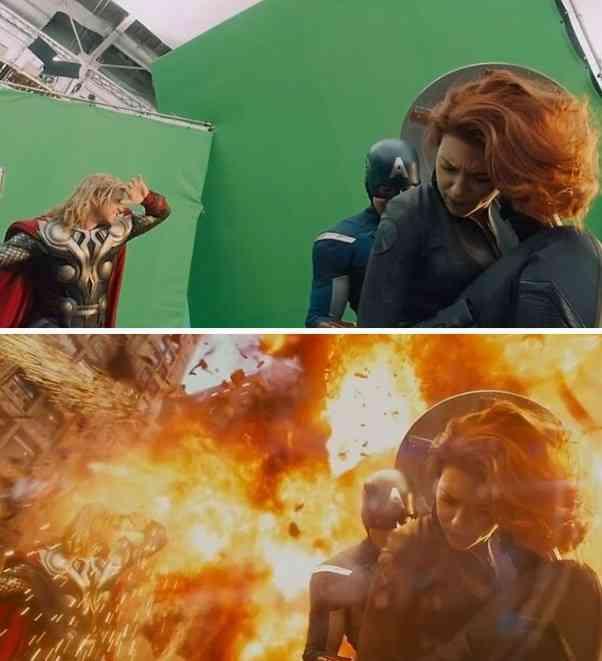 あの感動のシーンも、実際はこうだった。映画内の視覚効果ビフォア・アフター比較画像