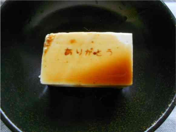 【100均グッズ】醤油をかけると文字が出てくる「メッセージ豆腐」が作れるアイテムがおもしろい