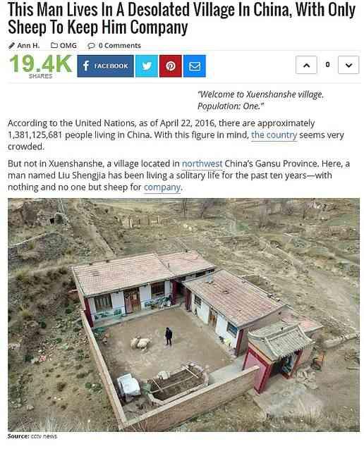 話し相手は飼っている羊 10年間人口がたった1人の中国の村 - ライブドアニュース