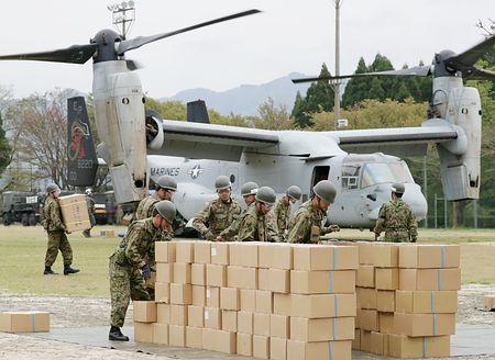 オスプレイ、救援物資輸送=南阿蘇に水や毛布-米軍支援、「トモダチ作戦」以来:時事ドットコム