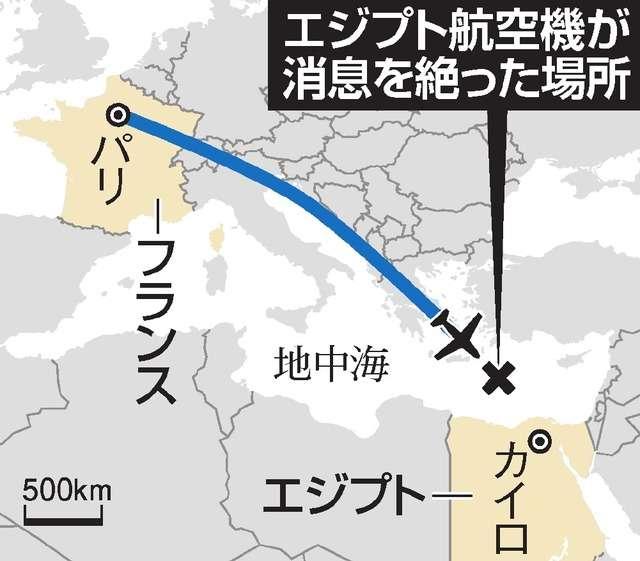 地中海で消息を絶ったエジプト航空機 部品が海上で見つかる テロの可能性も