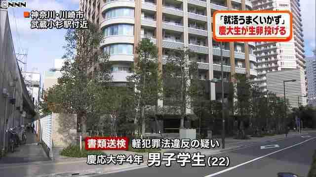 慶応大生、マンションから生卵約30個投げ落とし書類送検「就活でむしゃくしゃ」