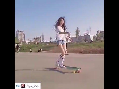 "Korean Longboarding girl Hyo Joo skating to Kero's ""So Seductive"" (viral video) - YouTube"