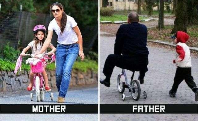 父親と母親の子育ての違いを描いた10枚の比較写真に男性の冷や汗が止まらないと話題に | チャンネル「てみた」