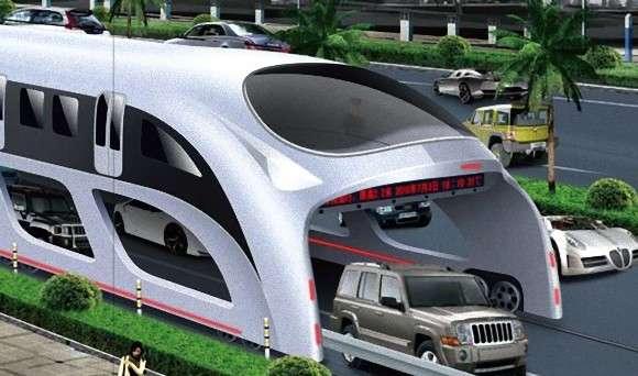 渋滞中でもスイスイ進める未来型公共バスがハイテクエクスポで発表される(中国)