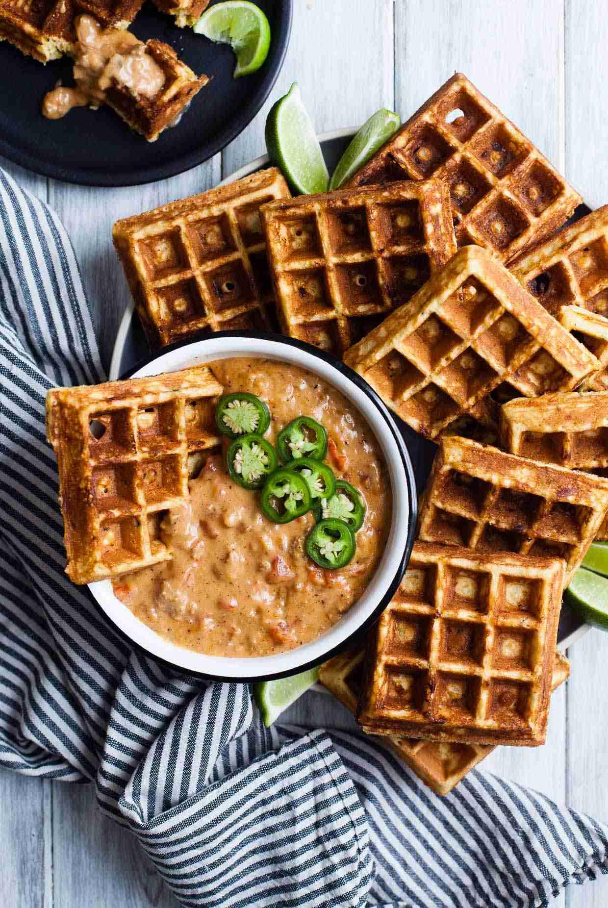 Cheddar Jalapeño Cornbread Waffles with Turkey Chile Con Queso Dip {gluten-free} - Snixy Kitchen - Snixy Kitchen