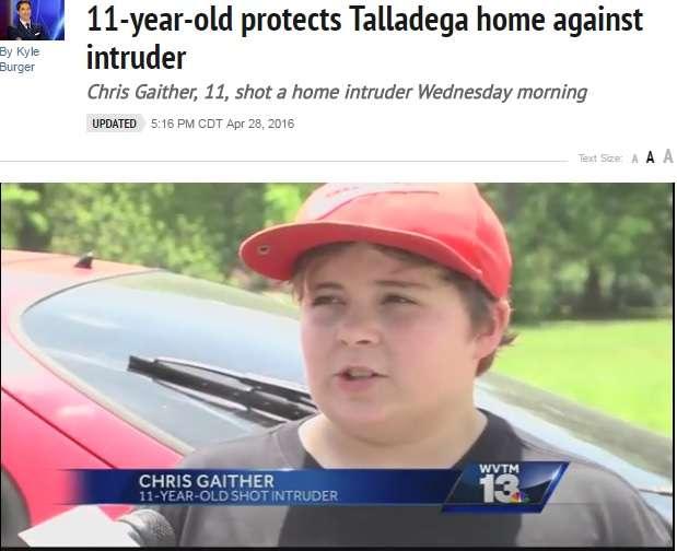 不法侵入者に発砲した11歳少年「撃たれた男は赤ちゃんのように泣いてたよ」(米)