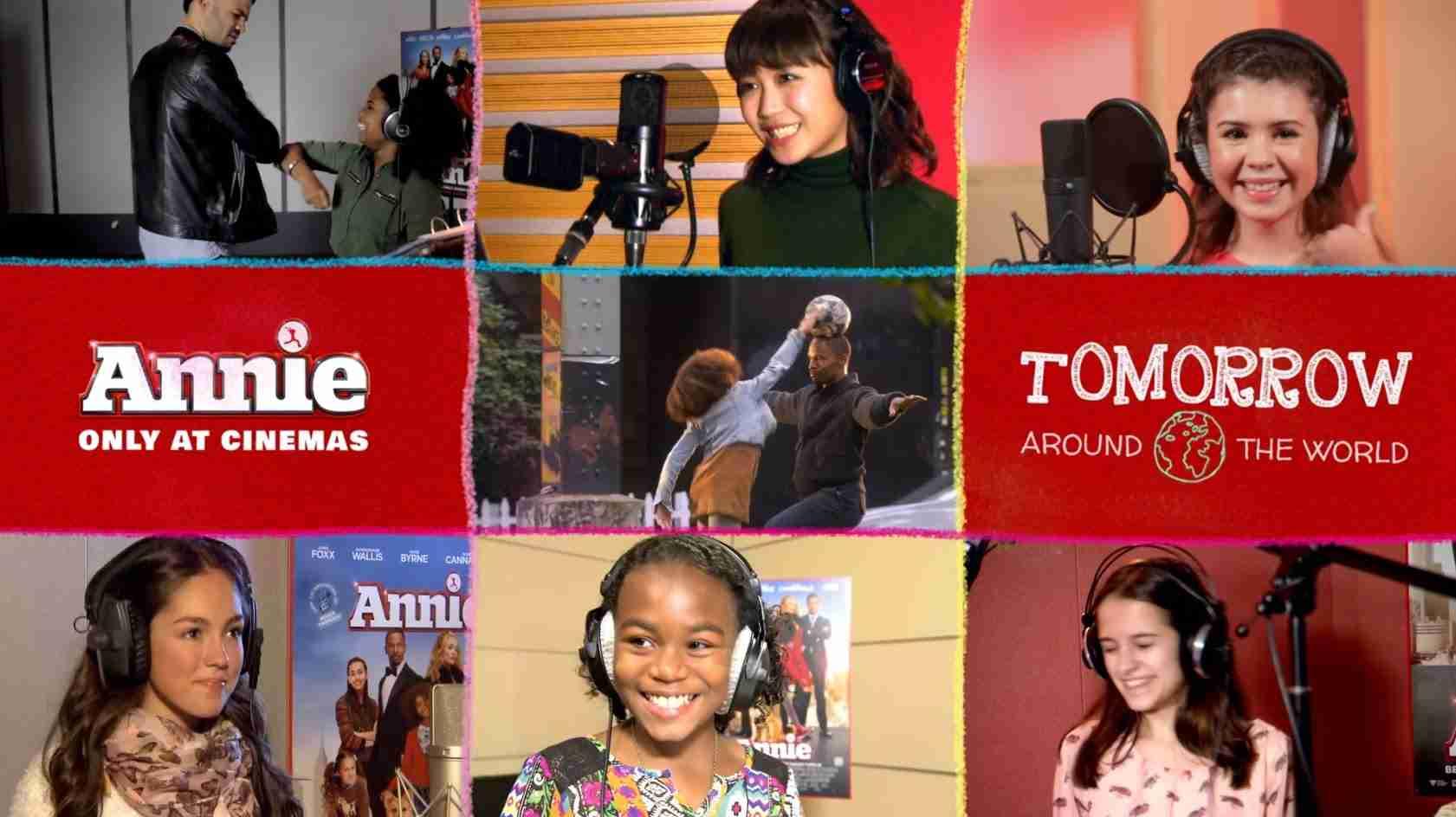 映画『ANNIE / アニー』テーマソング「Tomorrow」アラウンド・ザ・ワールド・クリップ - YouTube