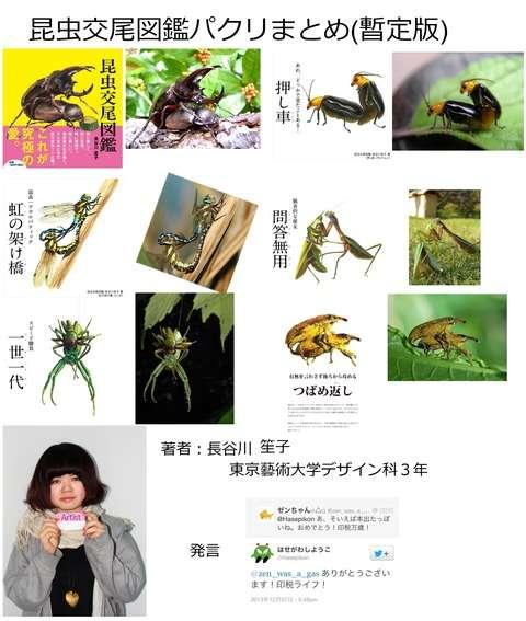 【閲覧注意】現役芸大生の女性が作った『昆虫交尾図鑑』ネットの写真を無断模写疑惑で炎上中