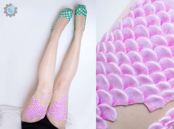 Mermaid Tights with handmade silicone scales on by tinkercast
