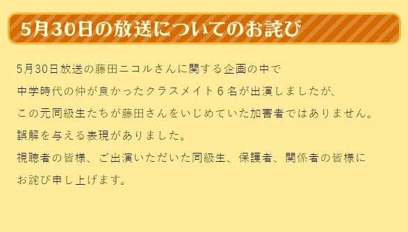 藤田ニコルいじめ告白企画番組で誤解、TBSが謝罪