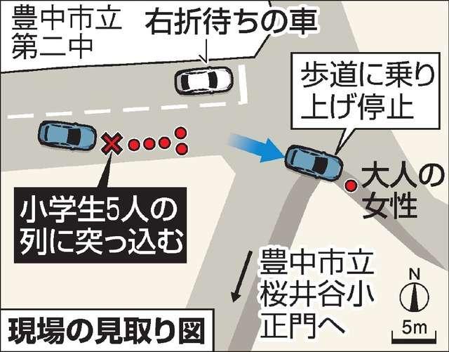 小学生の列に車、6人はねられる 1人意識不明2人重傷