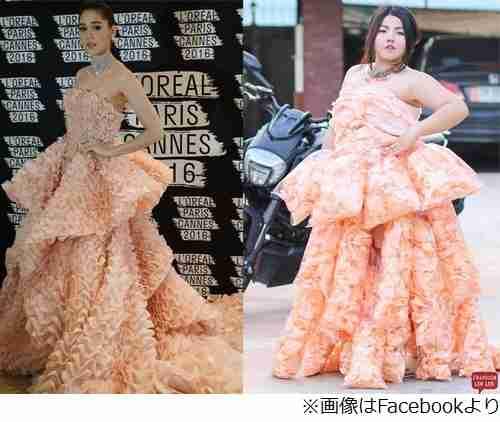 えびせんで作ったドレスが話題、女優着用のピンクのドレスを再現。