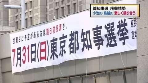 都知事選の序盤情勢、小池氏・鳥越氏が激しく競り合う(TBS系(JNN)) - Yahoo!ニュース