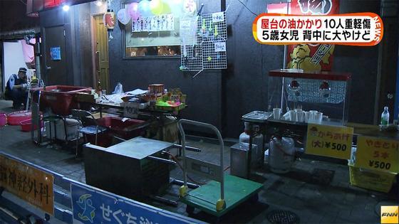 屋台の油かかり5歳女児が背中などに大やけど 福岡・北九州市