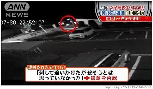 【大阪】防犯カメラに執拗に追い回す姿 女子高生切りつけで18歳少年逮捕。少年には知的障害が…