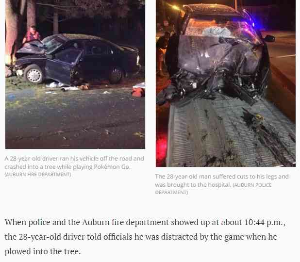 「ポケモンGO」に熱中 運転していた男性が大事故 警察「命があったのは奇跡」(米)