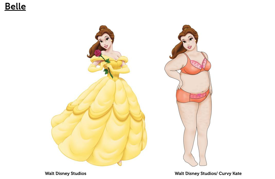"""ベルも白雪姫もアリエルも、みーんな """"ぽっちゃり"""" !? 英ブランドによる「もしもディズニープリンセスたちが下着姿になったら」が素敵"""