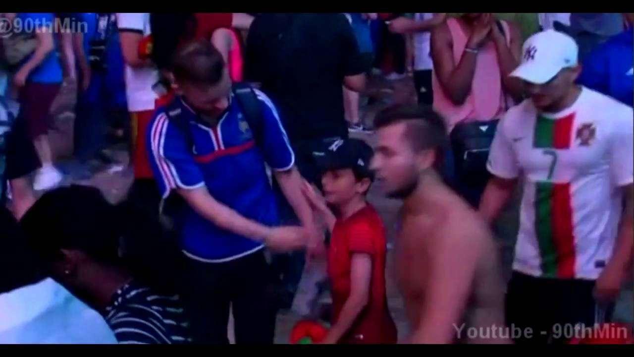 Portuguese boy hugs crying French fan | Euro 2016 Final - YouTube