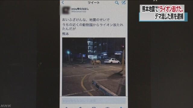 「ライオン逃げた」熊本地震直後にうそツイート 男を逮捕 | NHKニュース