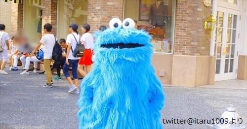 クッキーモンスターに「写真撮らせて。3.2.1パシャリ」…思ってたのと違う(笑)