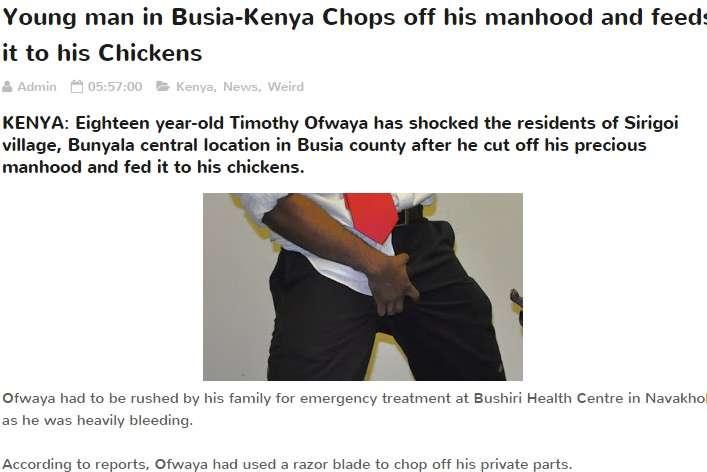 「恋人ができないのはコレのせい」18歳男性が局部を切断 ニワトリのエサに(ケニア)