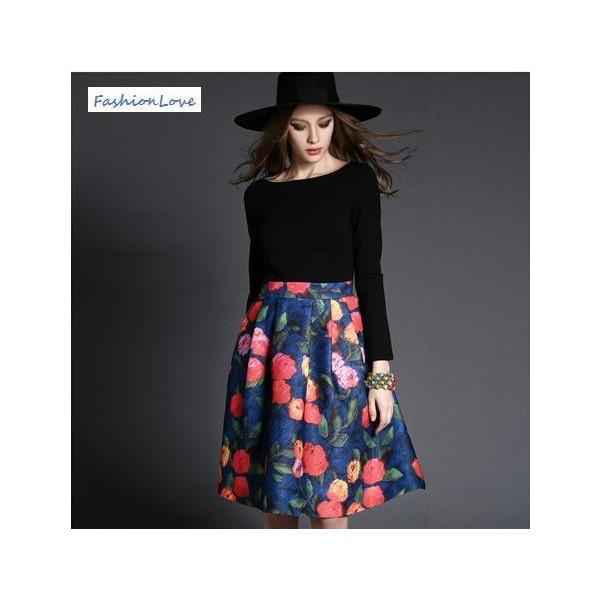 ワンピース 花柄プリントワンピース 大人フレアスカートワンピ :10000293:Fashion Love - 通販 - Yahoo!ショッピング