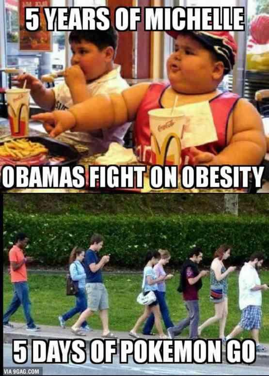 外国人「オバマ夫人が5年間苦戦したアメリカ肥満問題、ポケモンGOが5日で解決」 : 海外の万国反応記