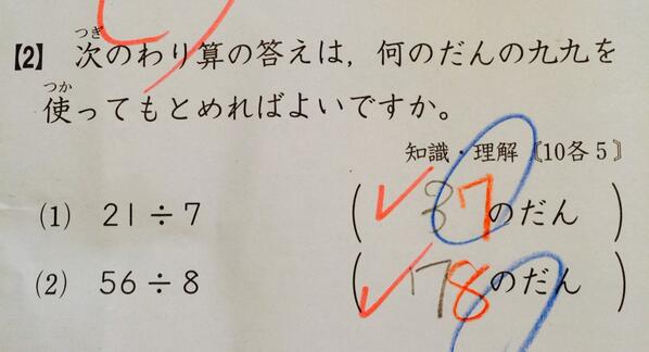 小学校3年生の算数問題が理解不能「21÷7は何の段の九九を使えば求まる?」答え 3の段←不正解