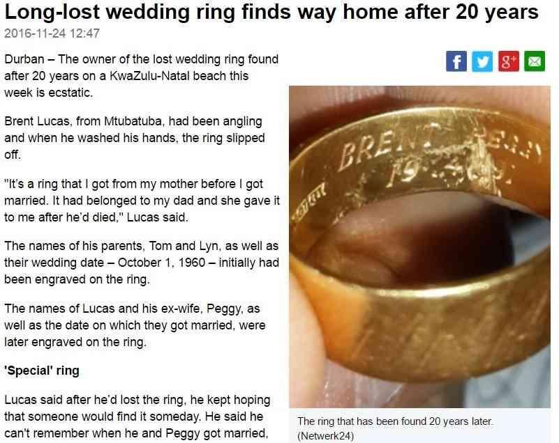 海で波にさらわれた指輪、20年後に持ち主のもとへ(南ア)
