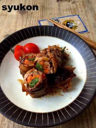 レンジで一発*お弁当にも。豚こま切れ肉の野菜巻き|山本ゆりオフィシャルブログ「含み笑いのカフェごはん『syunkon』」Powered by Ameba