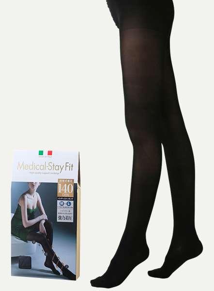 【楽天市場】◆イタリアの血管専門外科医が開発!疲れ・むくみを和らげる弾性・着圧ブランド!!メディカルステイフィットパンスト 140DEN ブラック M-L:TRAIN style