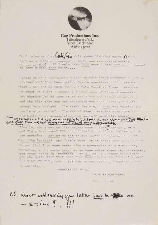 ジョン・レノンの手紙が330万円で落札、内容はポール・マッカートニー夫妻に対する怒り