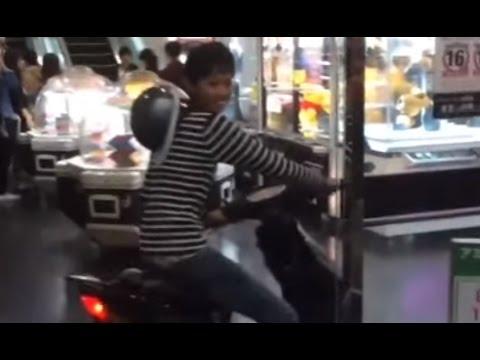【Twitterで話題】横浜のゲームセンター(ラウンドワン)でバイクのまま入店するキチガイDQNがヤバい!!【バカッター炎上】 - YouTube
