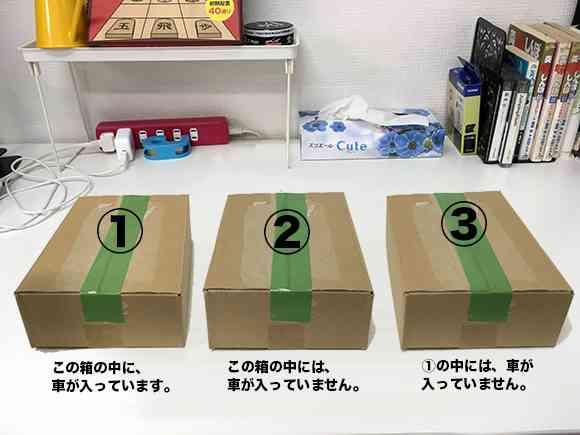【頭の体操クイズ】3つの箱のどれか1つに車が入っています。どの箱か分かる? | ロケットニュース24