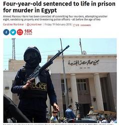 エジプトで4歳の男児に終身刑 4件の殺人、8件の殺人未遂→事件当時 男児は1歳