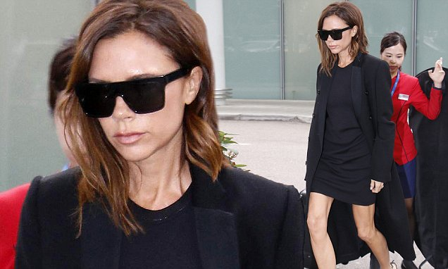 Victoria Beckham shows off toned legs at Hong Kong International Airport | Daily Mail Online